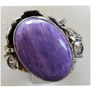 Genuine 17ct Siberian Charoite Ring 8